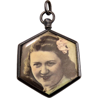 Hexagon French Open Glass Faced Antique Victorian Locket Pendant