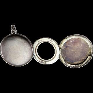 1902 4-Photo Folding Large Sterling Silver Antique Victorian Locket Pendant