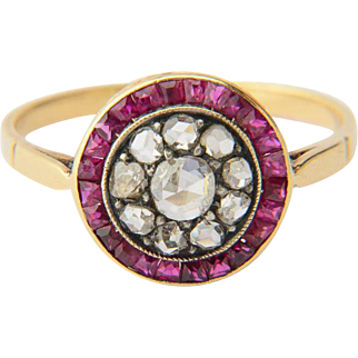 Antique ring rose-cut diamonds calibrated square-cut rubies target ring 18 K yellow gold and silver circa 1900 s