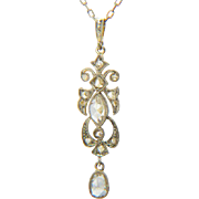 Antique rose-cut diamond pendant 18 k yellow gold and platinum Edwardian circa 1910 with its platinum chain