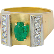 1.10 ct Colombian Emerald and 0.45 ctw diamonds ring 18 k yellow gold Retro circa 1940-50 Emerald I.G.I. lab report