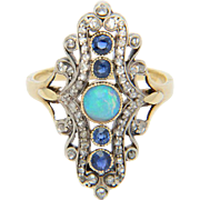 Diamond opal sapphire ring silver on gold antique Victorian ring