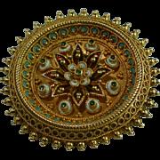 Victorian Etruscan revival enamel 18-carat gold brooch
