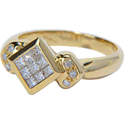 Diamond 0.60 cwt ring 18 k yellow gold vintage engagement ring