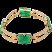 Natural Untreated Jade bracelet 18 k yellow gold Art Deco circa 1930 Lab certificate