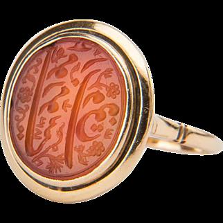 Antique Victorian signet ring Carnelian 18 k yellow gold
