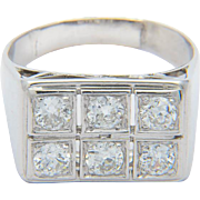 Diamonds 0.90 cwt Platinum 950 Art Deco diamond engagement ring / anniversary ring / right hand ring