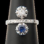 Art Deco ring Diamond and Ceylon Sapphire cross over engagement  ring circa 1920