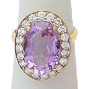 Russian/Soviet Union diamond and amethyst ring circa 1970 s yellow and white gold 18 k cocktail ring / right hand ring