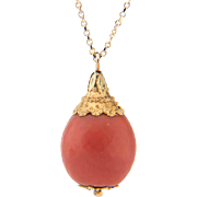 Antique coral pendant natural untreated faceted coral drop 0.53 inch diameter Etruscan revival 18 k yellow gold mounting circa 1810-20