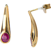 Vintage ruby 0.70 cwt drop earrings 18 k yellow gold circa 1980