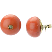 Antique Victorian natural Mediterranean coral large cabochon stud earrings 16 mm diameter