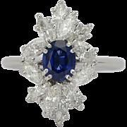 Sapphire and diamond ring platinum 950 circa 1970 engagement ring /  anniversary ring / right hand ring