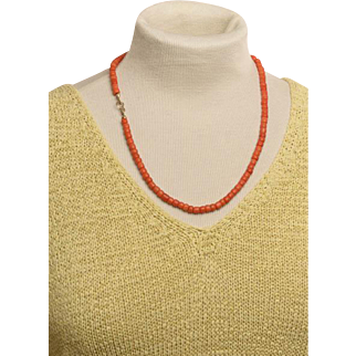 Antique coral necklace natural untreated coral beads
