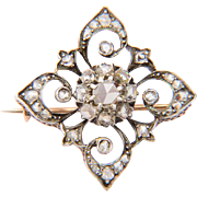 Victorian rose-cut diamonds brooch circa 1860