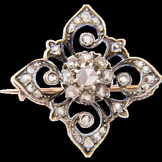 Victorian rose-cut diamonds brooch circa 1860