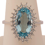 Aquamarine diamond engagement ring circa 1970