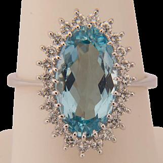 Aquamarine diamond engagement ring circa 1970