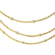 Antique decorative chain/necklace Victorian circa 1890 s 18 karat yellow gold pearls 59 inches