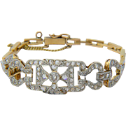 Antique rose-cut diamond bracelet  platinum over 18 k yellow gold Edwardian circa 1910