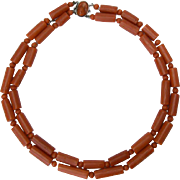 Untreated natural coral two strands necklace silver cameo clasp