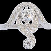 Antique diamond engagement ring Art Nouveau circa 1900