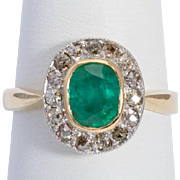 Antique Victorian Emerald old-cut diamonds cluster ring circa 1890