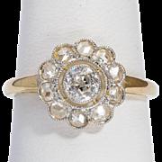 Antique Diamond ring 18 k yellow gold platinum top circa 1910