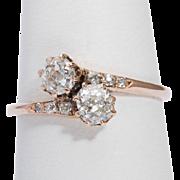"Antique diamond engagement ring "" You and Me"" Art Nouveau / Victorian circa 1900 s"