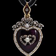 Antique Victorian diamond entwined hearts pendant/brooch/locket enamel pearl circa 1880 s