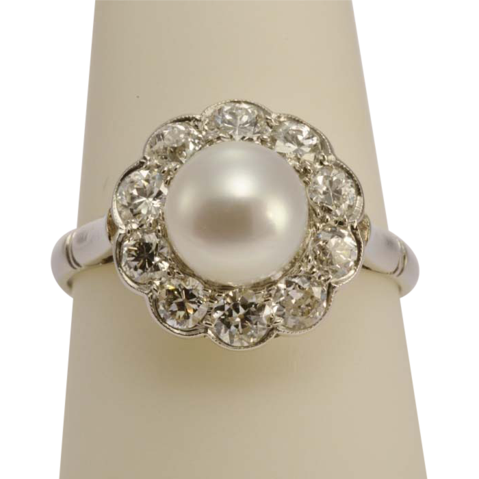 Antique Edwardian pearl diamond platinum engagement ring SOLD on Ruby Lane