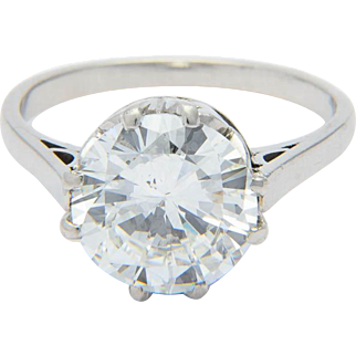 G.I.A. solitaire diamond ring 3.29 ct brilliant-cut Color F Clarity SI 1  Art Deco platinum ring / solitaire engagement ring/ solitaire anniversary ring