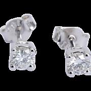 Vintage sparkling 0.40 cwt diamond stud earrings 18 k white gold