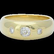 Vintage three stones 0.45 cwt diamonds UNISEX ring