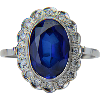 Diamond and sapphire ring platinum 900 Art Deco  circa 1930