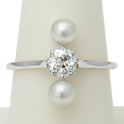 Art Deco diamond ring 0.47 old European cut diamond two pearls 18 k white gold circa 1920 s