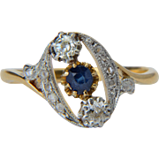 Antique Art Nouveau sapphire and diamond ring