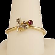 Antique Art Nouveau diamond and ruby ring