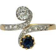 Antique diamond ring Art Nouveau circa 1900 s sapphire and diamond 18 k yellow gold and platinum top / engagement ring