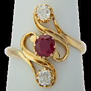 Art Nouveau Burma ruby diamond ring 18 k yellow gold circa 1890s / Burma ruby with lab report