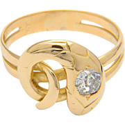Diamond ring 18 k yellow gold old-cut diamond antique Victorian snake ring