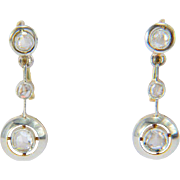 Diamond earrings 18 k yellow and white gold rose-cut diamonds Art Deco drop earrings