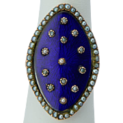 Antique Georgian blue enamel and pearls ring 14 k yellow gold circa 1770 s