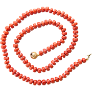 Antique Victorian natural untreated oxblood red coral necklace