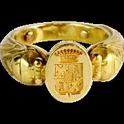 Antique Art Nouveau French unusal man`s signet ring 18 k yellow gold 18.1 gram circa 1890 s