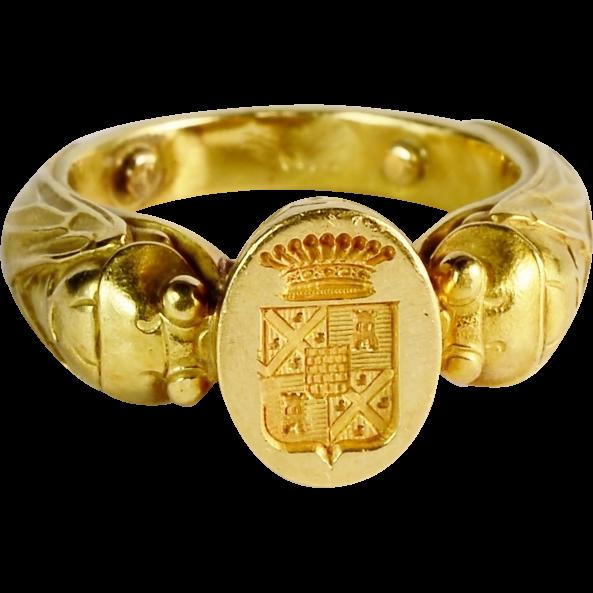Antique Art Nouveau French unusal man s signet ring 18 k yellow
