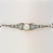 Antique Diamond Bracelet Imperial Russian 2.25 carat t.w. diamond 14 k yellow gold and silver bracelet I.G.L jewelry report