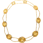 Antique Georgian necklace Citrine Cannetille 18 k gold necklace circa 1820 s