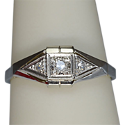 Art Deco Diamond 18 k Gold and Platinum engagement ring/anniversary ring