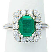 Emerald and diamonds cluster ring 18 k white gold circa 1960-1970 Natural Emerald with a Lab certificate